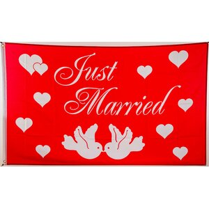 Flagge 90 x 150 : Just Married (Hochzeit)