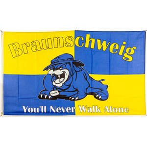 Flagge 90 x 150 : Braunschweig You`ll never walk alone (Bulldogge)