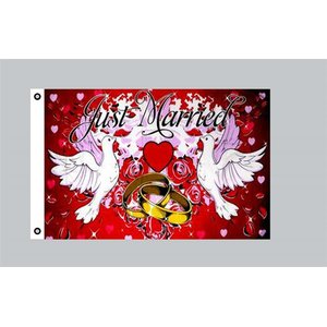 Flagge 90 x 150 : Just Married 2 (Hochzeit)