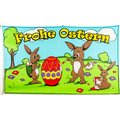 Flagge 90 x 150 : Ostern Frohe Ostern Hasenfamilie
