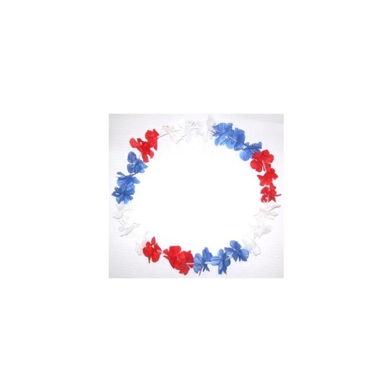 Blumenkette / Hawaiikette Blau-weiß-rot, 0,99