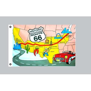 Flagge 90 x 150 : USA - Route 66