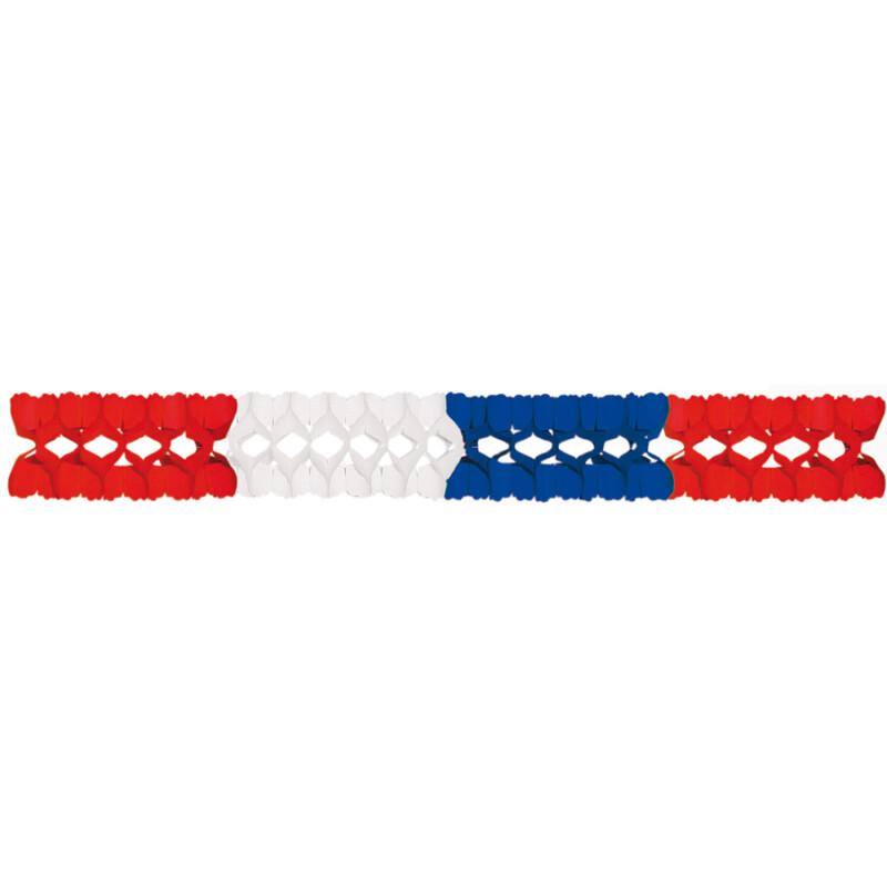 Girlande Blau-Weiß-Rot 4m Lang, Schwer Entflammbar, 4,99
